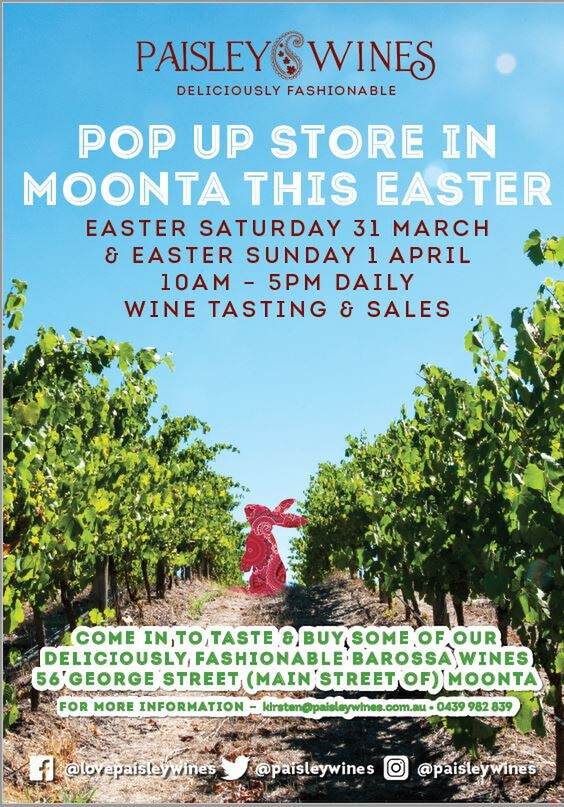 Come and Visit us this Easter 31st March - Sun 1st April at our Pop Up Shop in the main street of Moonta